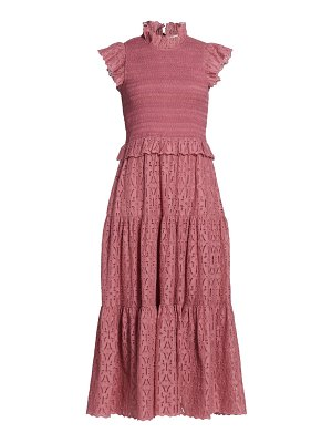 SEA smocked eyelet midi dress