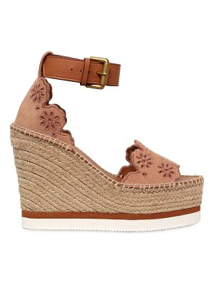 See By Chloe 120mm laser-cut flowers suede wedges