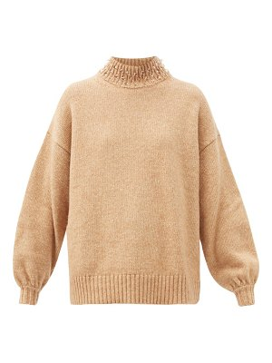 See By Chloe beaded high-neck wool-blend sweater
