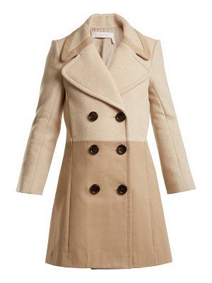 See By Chloe Contrast-panel wool-blend and twill coat