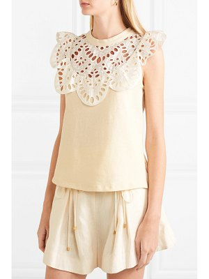 See By Chloe cotton-jersey and broderie anglaise top
