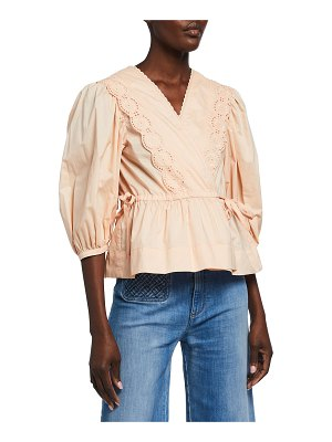 See By Chloe Embroidered Lace Wrap Blouse