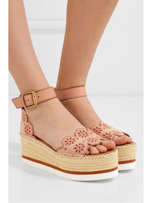 See By Chloe embroidered laser-cut suede and leather espadrille wedge sandals