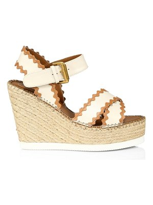 See By Chloe glyn leather platform espadrille wedge sandals