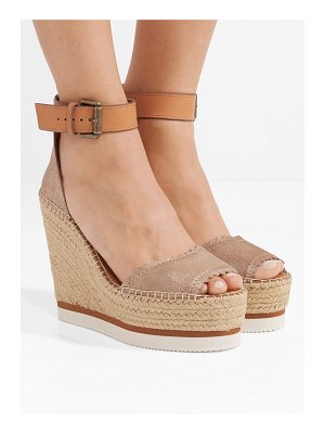 See By Chloe metallic leather espadrille wedge sandals