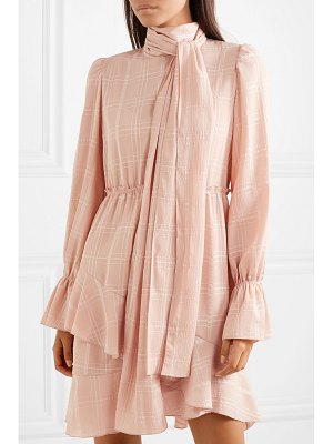 See By Chloe pussy-bow asymmetric plissé-crepe dress