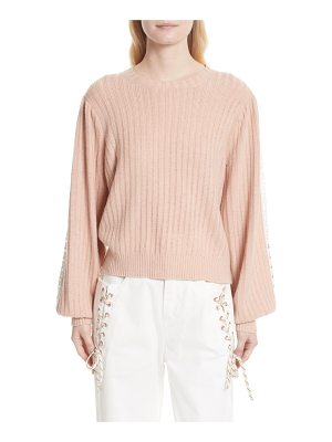 See By Chloe ribbed lace trim sweater