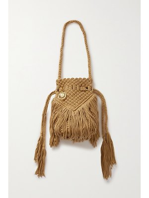 See By Chloe roby fringed crocheted cotton bucket bag