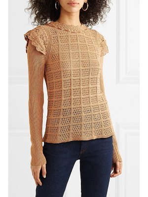 See By Chloe ruffle-trimmed pointelle-knit sweater