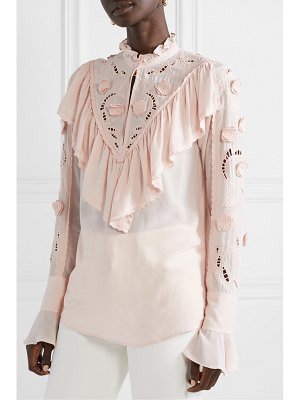 See By Chloe ruffled broderie anglaise crepe de chine blouse
