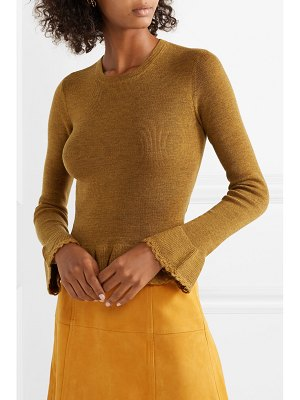 See By Chloe ruffled crochet-trimmed wool sweater