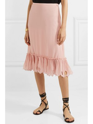 See By Chloe ruffled cutout georgette midi skirt