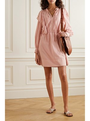 See By Chloe ruffled lace-trimmed cotton mini dress