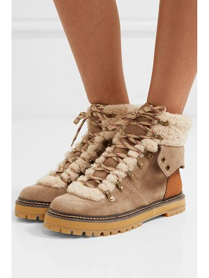 See By Chloe shearling and leather-trimmed suede ankle boots