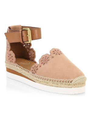 See By Chloe floral laser cut ankle-strap espadrilles