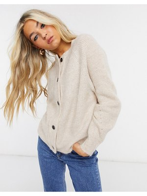 Selected femme cardigan in brushed knit in cream