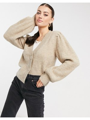 Selected femme cardigan with balloon sleeves in beige