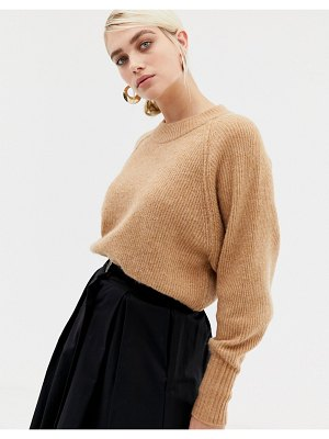 Selected femme deep cuff knitted sweater-tan