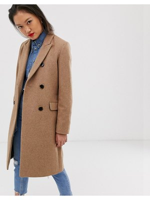 Selected femme double breasted wool coat in brown