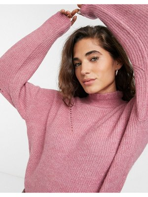 Selected femme high neck sweater with stitch detail-pink