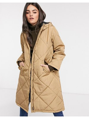 Selected femme oversized quilted jacket in tan-brown
