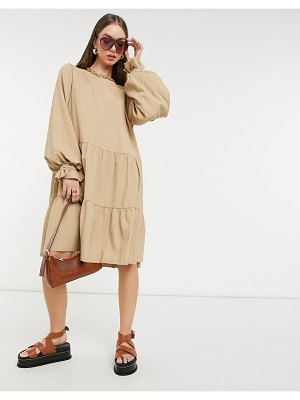 Selected femme smock dress with tiering and volume sleeves in beige-neutral