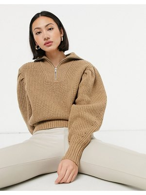 Selected femme sweater with half zip and exaggerated sleeves in tan