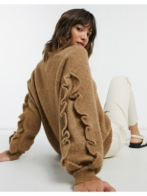 Selected femme v-neck sweater with ruffle sleeves in brown