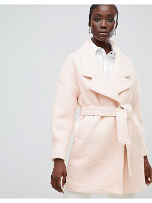 Selected femme wrap wool coat-pink