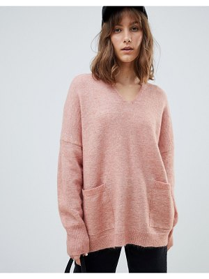 Selected femme v neck pocket sweater-pink
