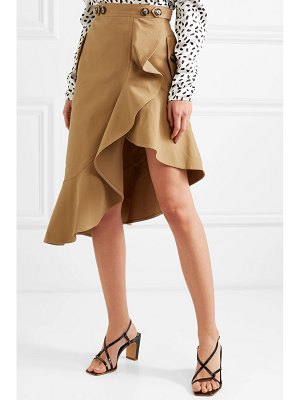 SELF-PORTRAIT asymmetric ruffled cotton-canvas skirt
