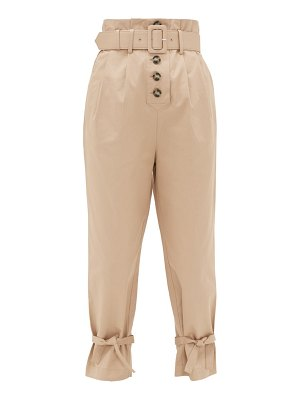 SELF-PORTRAIT belted high-rise cotton-canvas trousers