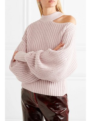 SELF-PORTRAIT cutout cotton and wool-blend sweater