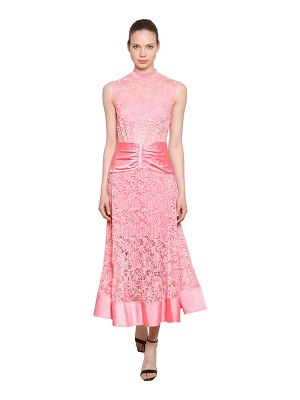 SELF-PORTRAIT Floral lace & satin midi dress