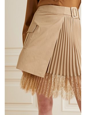 SELF-PORTRAIT lace-paneled pleated crepe de chine and cotton-canvas wrap mini skirt