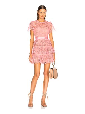 SELF-PORTRAIT Pink Tiered Lace Mini Dress