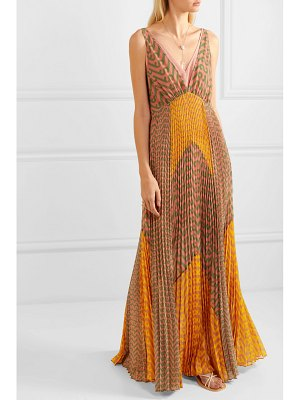 SELF-PORTRAIT pleated printed crepe maxi dress