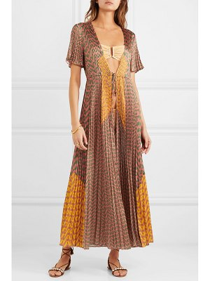 SELF-PORTRAIT pleated printed satin kaftan