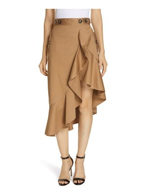 SELF-PORTRAIT ruffle trim canvas skirt
