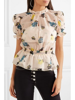 SELF-PORTRAIT ruffled floral-print chiffon top