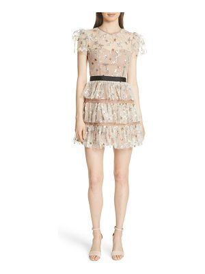 SELF-PORTRAIT Sequin Mesh Tiered Dress