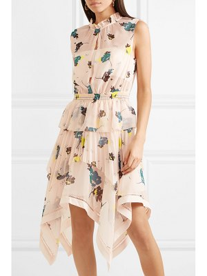 SELF-PORTRAIT tiered floral-print chiffon dress