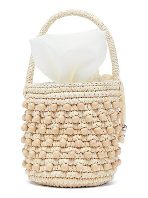 Sensi Studio beaded toquilla straw bucket bag