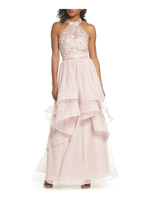 SEQUIN HEARTS Beaded Halter Neck Gown