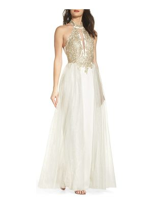 SEQUIN HEARTS Embellished Halter Gown With Tulle Overskirt