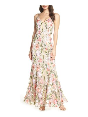 Sequin Hearts floral embroidered evening dress