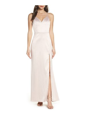 Sequin Hearts lace back stretch satin evening dress