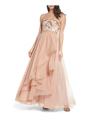 SEQUIN HEARTS Strapless Sequin Bodice Ballgown