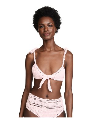 She Made Me lalita crochet tie up triangle bikini top
