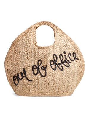 Shiraleah out of office embroidered jute tote